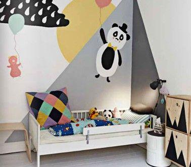 Chambre enfant déco murale peinture blanc gris jaune noir Kid