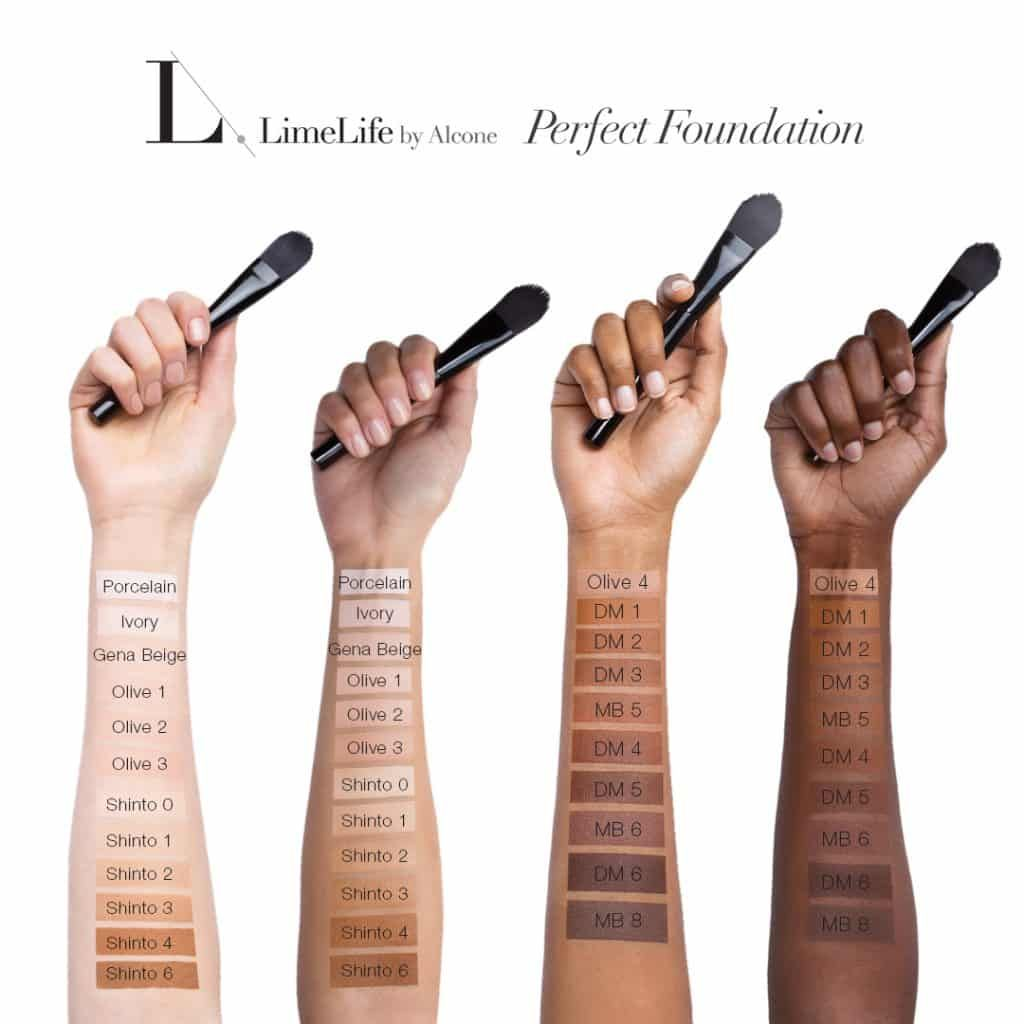 Limelife By Alcone Perfect Foundation Arm Swatches All Shades 2018 Brazen Faith Llc Jean Lucas Indep Perfect Foundation Foundation Colors Foundation Shades