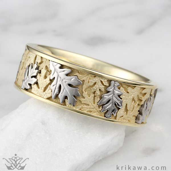 Two Tone Oak Leaf Wedding Band Every Year In A Beautiful Cycle The Leaves Change Color On Trees And Drop To Forest Floor Blanket Of Warm