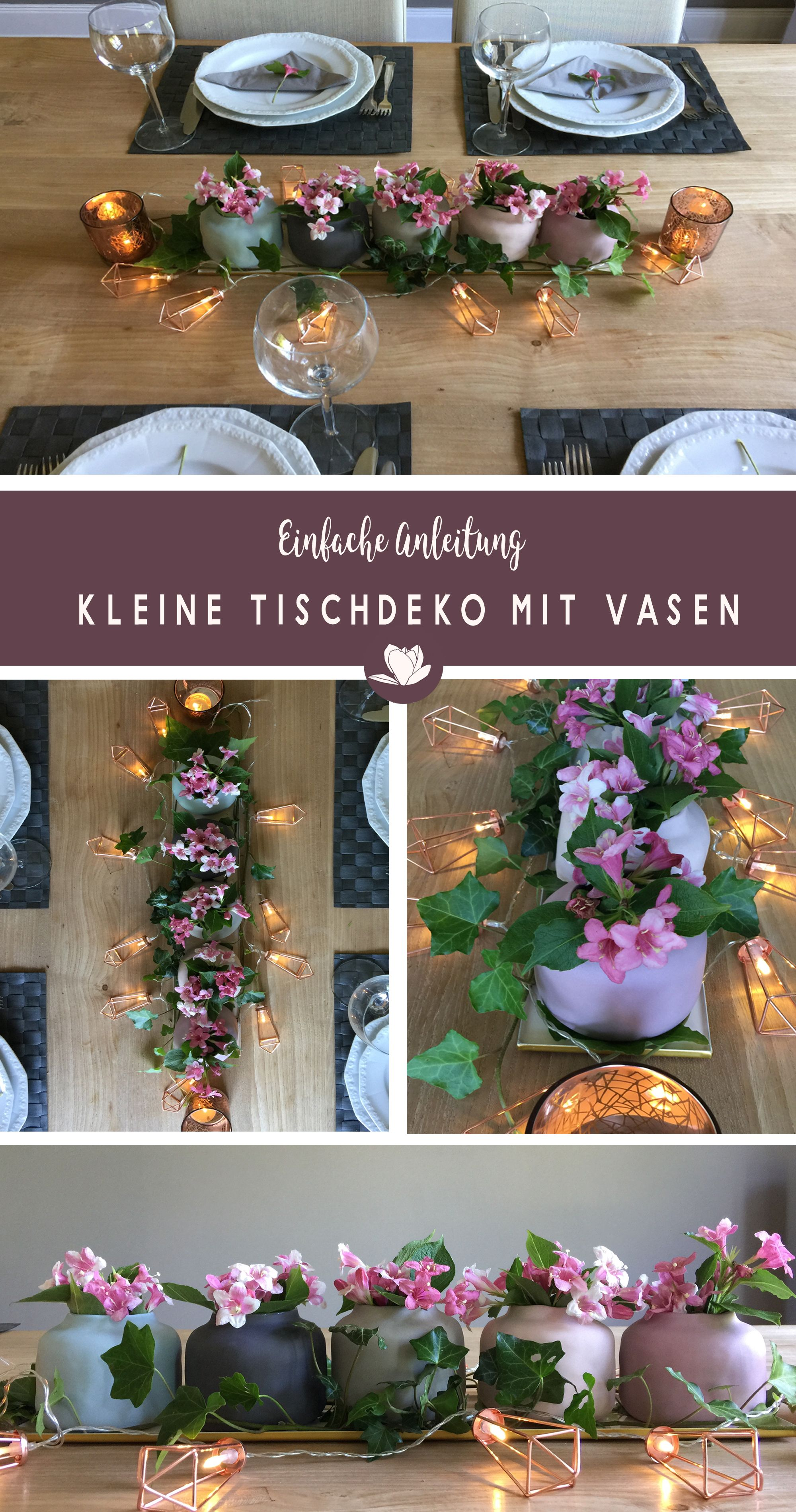 Kleine Tisch-Deko mit Vasen und Lichterkette - einfache Anleitung ...