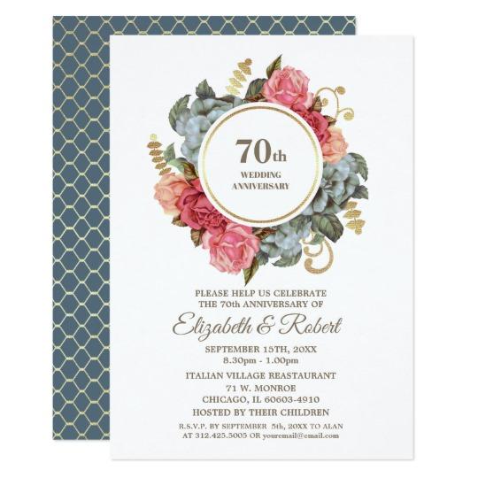 70th Wedding Anniversary Party Invitations Anniversary