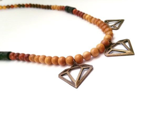 African bib statement necklace geometric  wood necklace by Absynia, $30.00