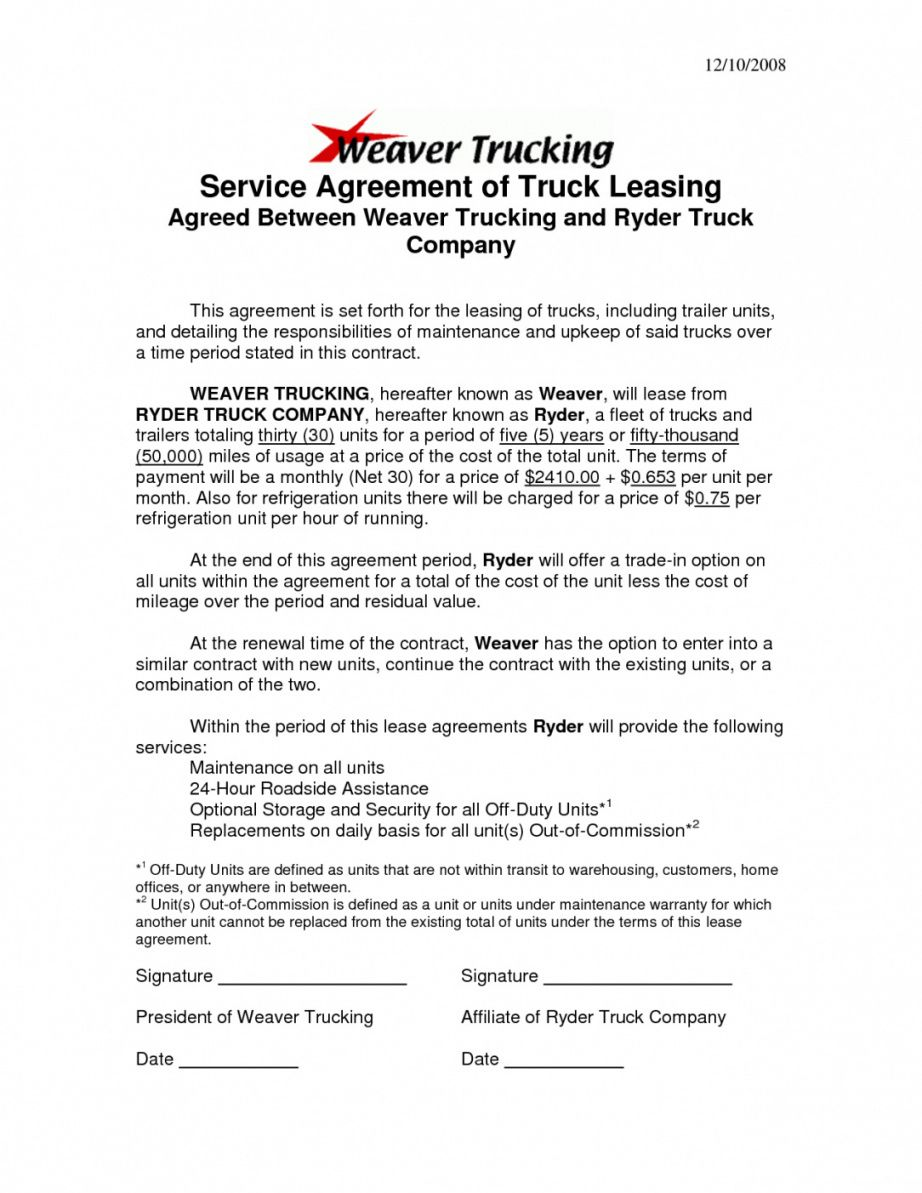 Company Truck Driver Contract Agreement In 2020 With Images