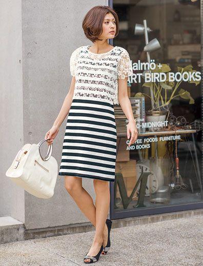 レーストップ・ボーダージャージーワンピースセット | 女性ファッション通販サイトFABIA(ファビア)