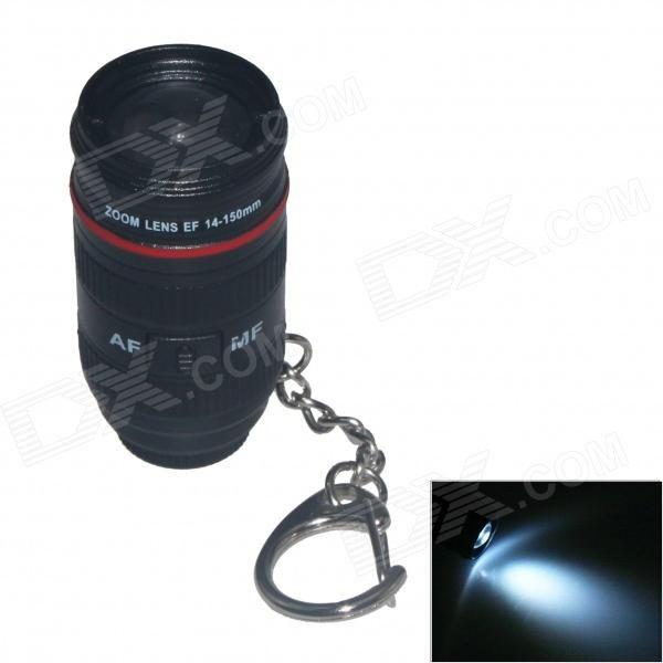 Lens Style LED Light Keychain w/ Sound - Black (2 x AG10)