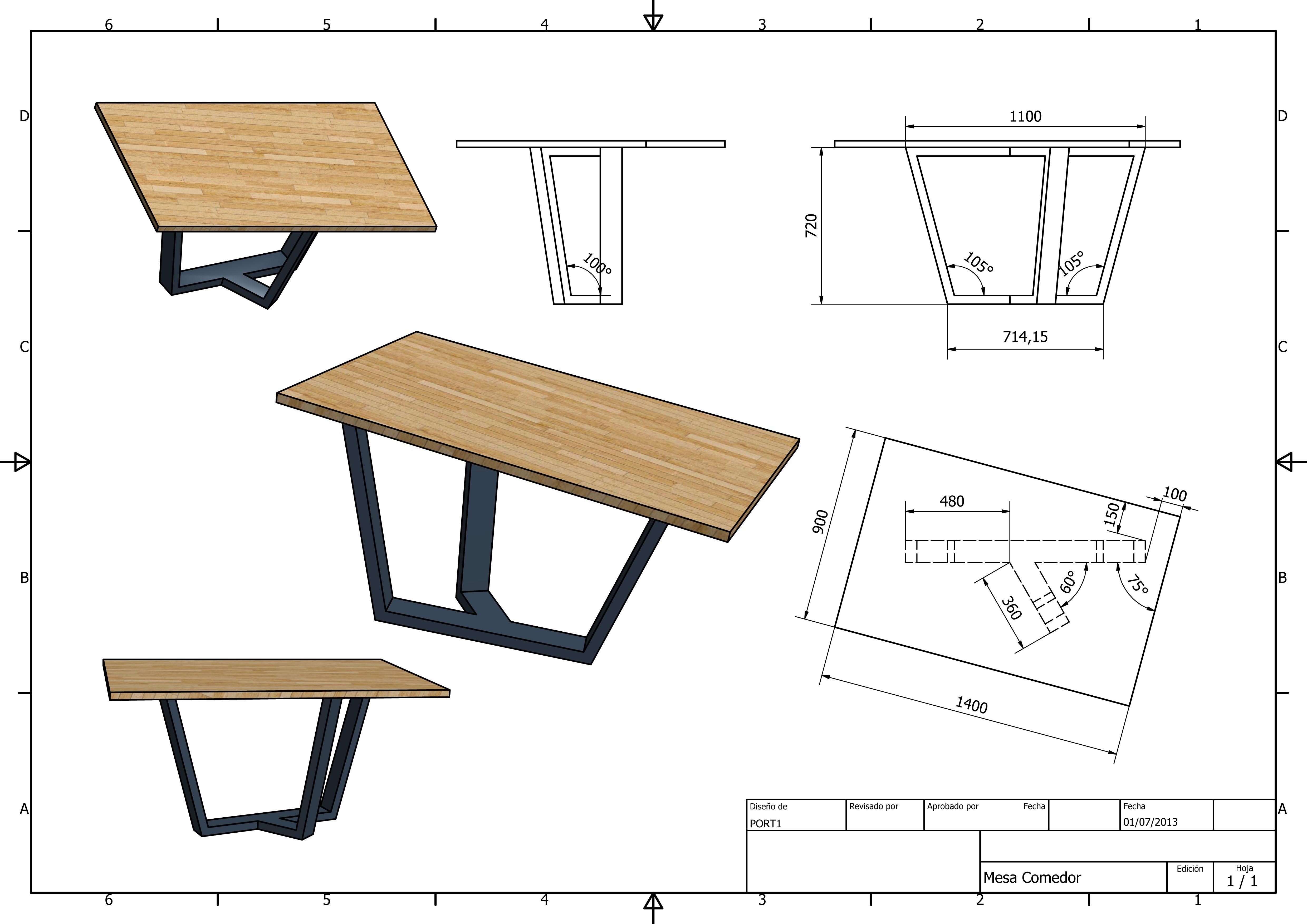 Mesa comedor planos arquitectura mesas de comedor - Mesas de arquitectura ...