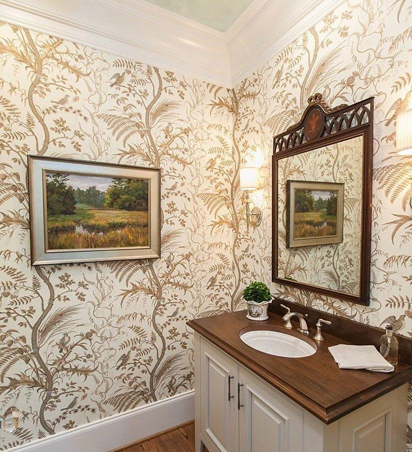 Bird And Thistle Wallpaper Has Become A Favorite Powder Room Trend Make A Big Style Statement Country Style Bathrooms Country Interior Country Style Interiors Bird and thistle wallpaper green