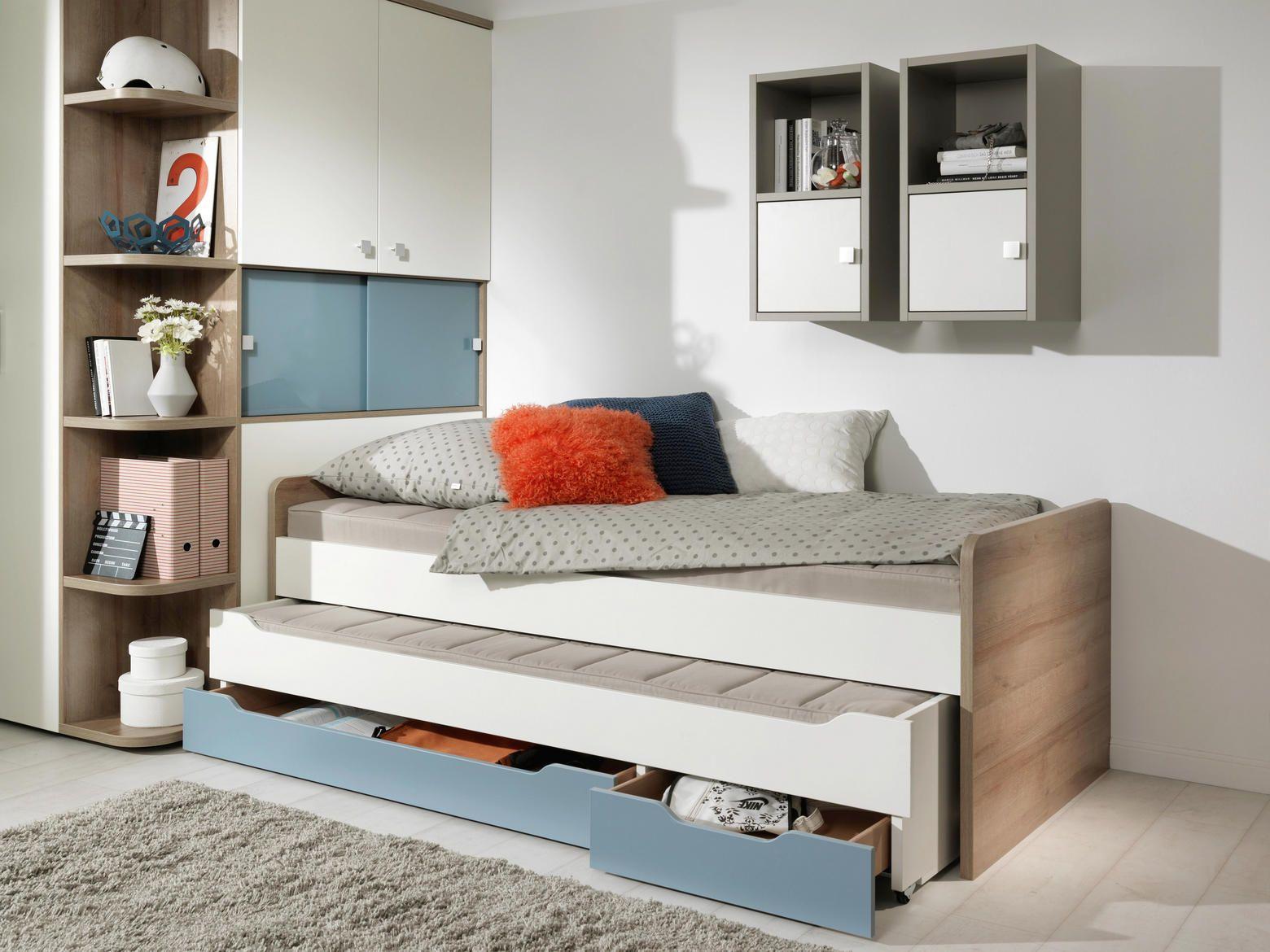 Ausziehbett Blau, Weiß, Braun Einzelbett Ausziehbett