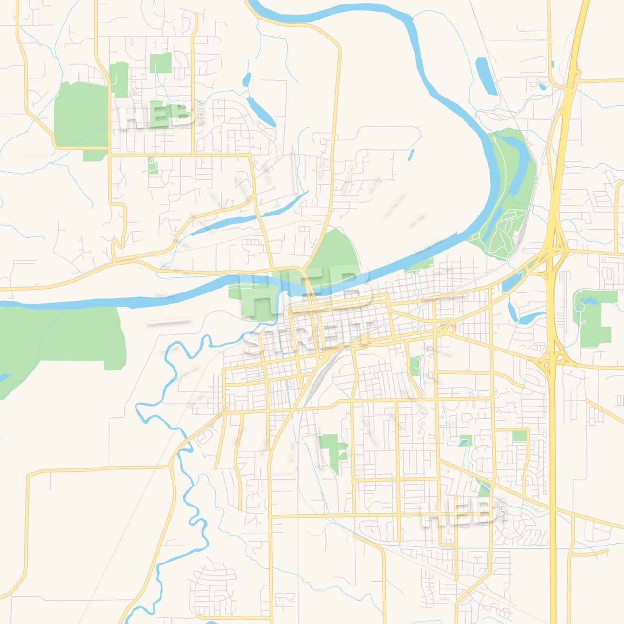 Empty vector map of Albany, Oregon, United States of America ...