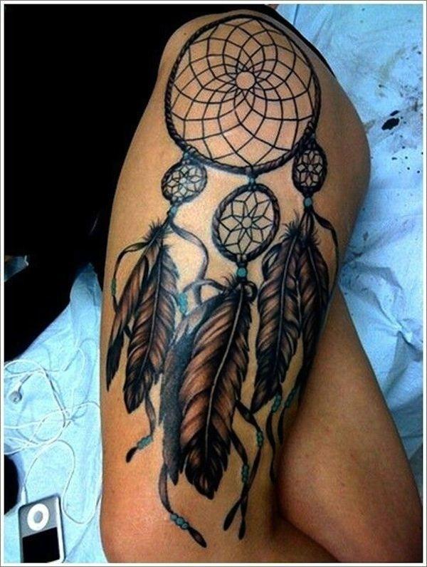 Dream Catcher Tattoo On Thigh Thightattoosdreamcatcher Hollie Baker Kaitoula Tou Rodolfou