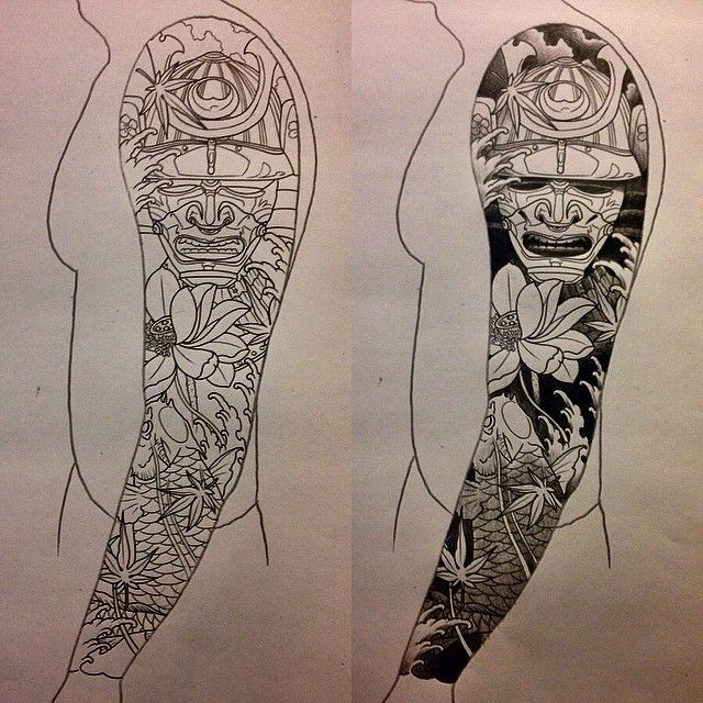 Tattoo Sleeve Design Artwork: Black Ink Samurai Head With Koi Fish And Flowers Tattoo