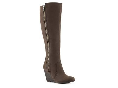 Medium Heeled Brown Boot Fergalicious Ornate Wide Calf Wedge Boot ...