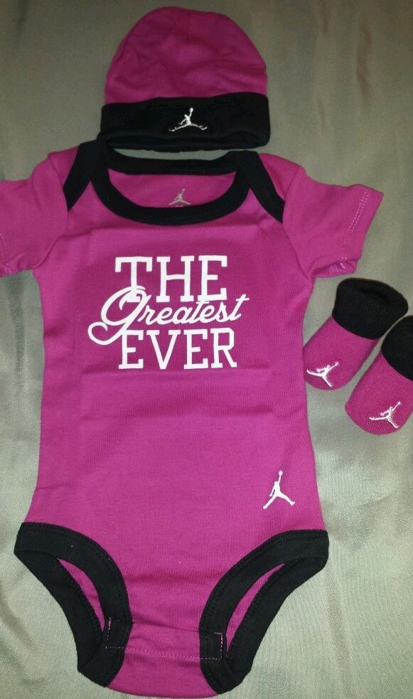 Baby Girl Jordan Clothes Endearing Nike Air Jordan Infant Baby Girl 3 Pc Set Bodysuit Hat Bootiesnwb0 Design Ideas