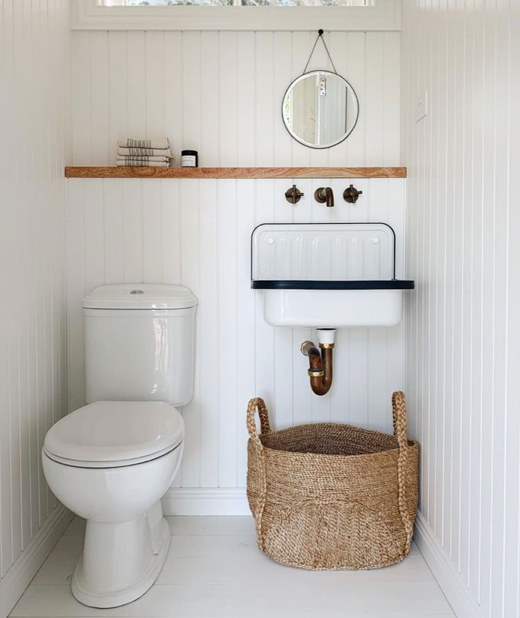 Small Downstairs Loo Guest Bathroom With White Washed Wood Panel Walls Courtney Adamo White Washed Wood Paneling Downstairs Loo Wood Panel Walls