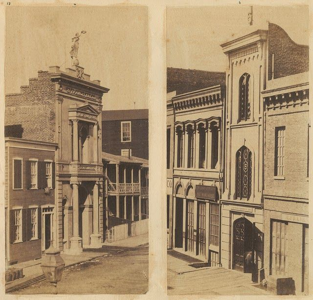 San Francisco, 1856. Photo by unknown. St. Francis' Hook and Ladder No. 1.; Knickerbocker Engine House No. 5.