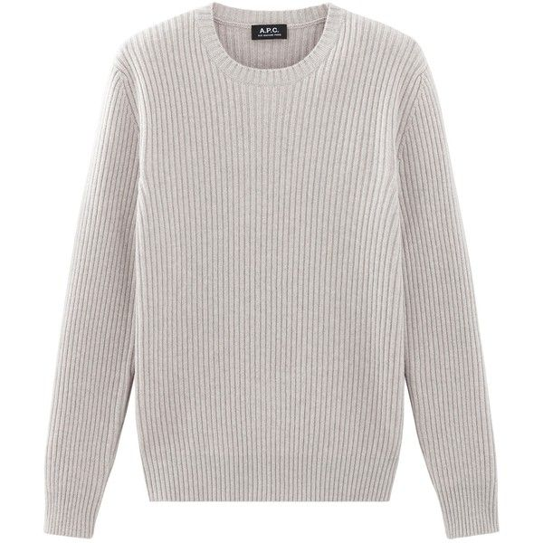 A.P.C. Socks sweater | usonline.apc.fr | free shipping (4.930 ARS) ❤ liked on Polyvore featuring tops, sweaters, long sleeve crew neck sweater, crew top, ribbed crew neck sweater, crew sweater and crew neck top