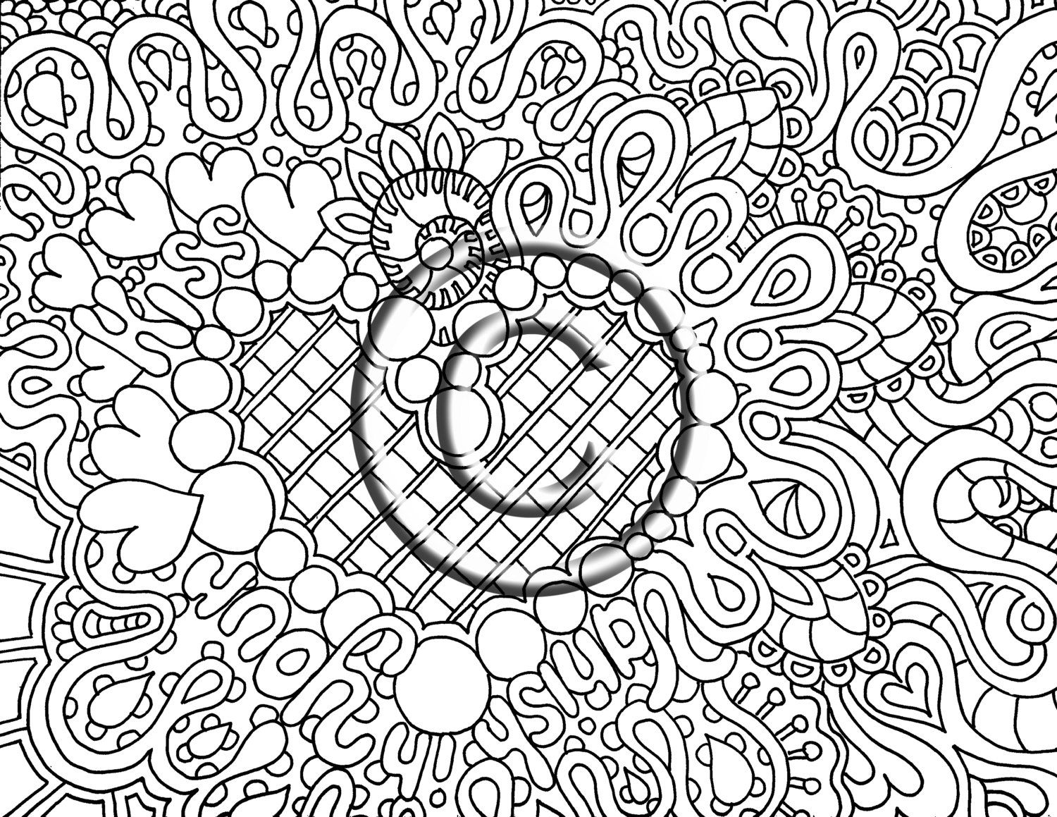 digital download coloring page hand drawn zentangle inspired psychedelic vanish in your kiss zendoodle