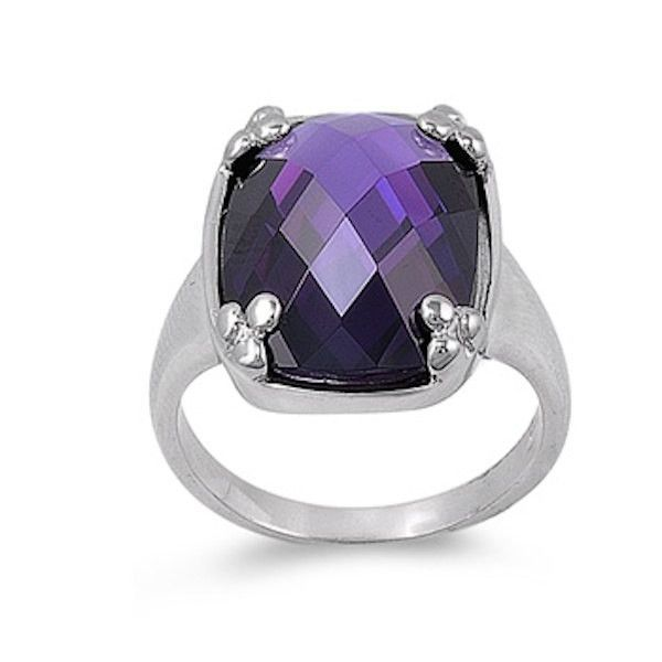 Sterling Silver 6.80 Carat Emerald Cut Checkered Purple Amethyst Swarovski Crystal Wedding Engagement Anniversary Cocktail Solitaire Ring