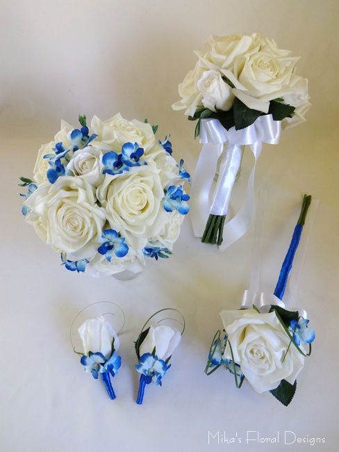 Real Touch Rose with Mini Blue Orchid Wedding Flower Package