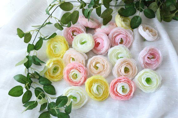 Artificial Ranunculus Flower Heads Silk Ranunculus Fake Flowers 100 Bulk Silk Flower Heads Ranunculus Wedding Flowers For Bridal Hair Mh 3 In 2020 Bulk Silk Flowers Ranunculus Wedding Silk Flowers