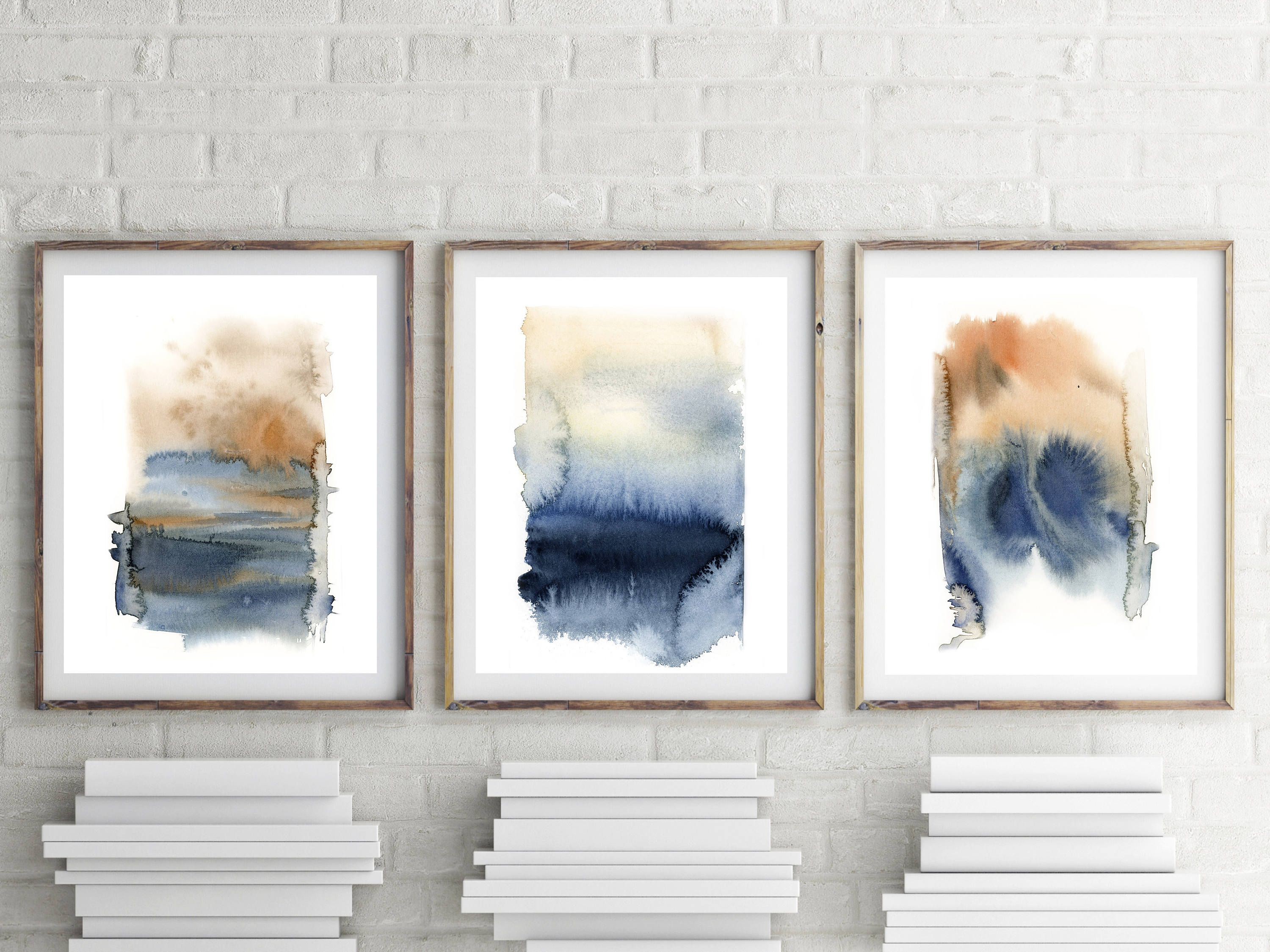 Abstract Art Prints Set Set Of 3 Fine Art Prints Abstract Blue