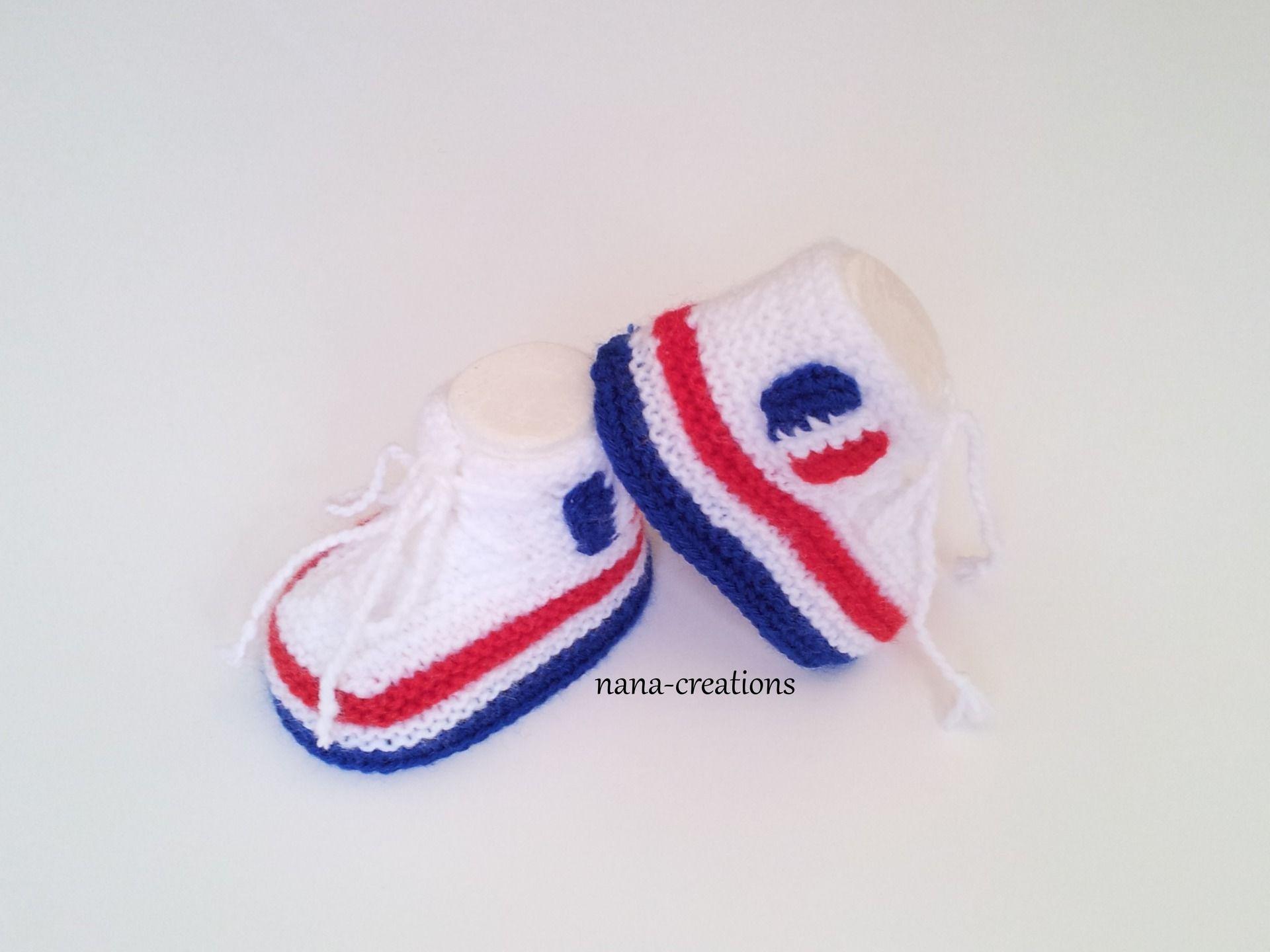 Chaussons bébé forme baskets tricotés en laine bleu blanc rouge France Foot  Euro 2016. 0 3 mois.   Mode Bébé par nana-creations 3733f0f5aae