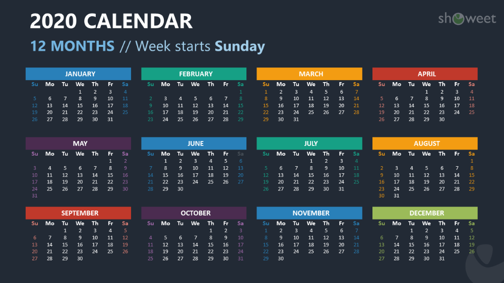 2020 Calendar for PowerPoint and Google Slides Showeet