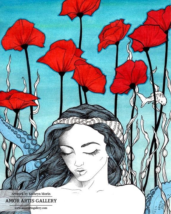 Daydreamer - Watercolor and Ink Painting by Kathryn Morin