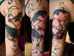Water Lily Half Sleeve Tattoo Sleeve Designs Half Sleeve Tattoos Drawings Hawaiian Tattoo