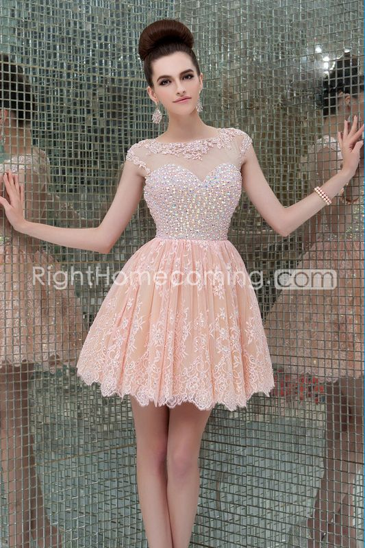 2014 Scoop Neckline Open Back A Line Tulle And Lace Short/Mini Prom ...