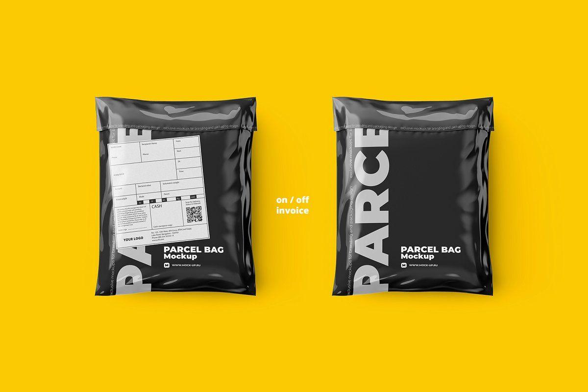 Download Parcel Mailing Shipping Bag 4 Psd Plastic Packaging Design Bag Mockup Delivery Bag