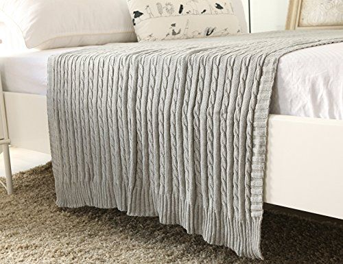 CottonTex Cotton Knitted Cable Throw Soft Warm Cover Blanket Cable Knitting Pattern, 43*70 Inches, Heather Grey