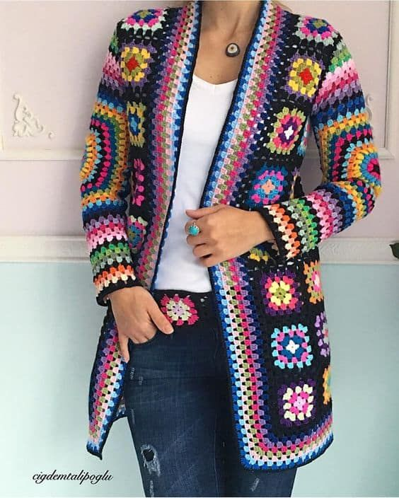 Crochet Granny Square Jacket Tutorial Pattern #grannysquares