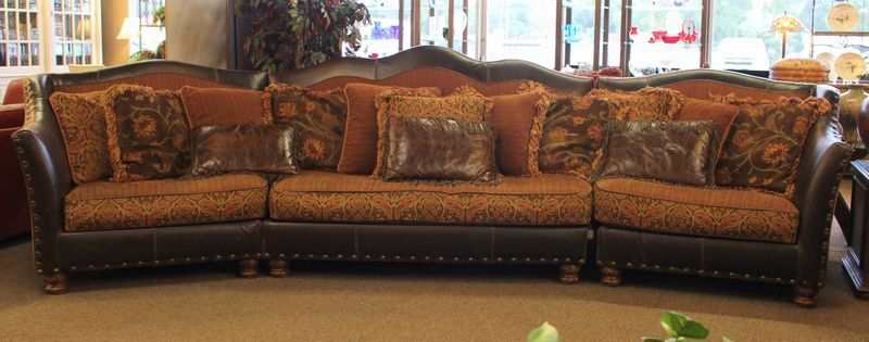 Beautiful Paul Roberts 3 piece sectional sofa with rolled leather