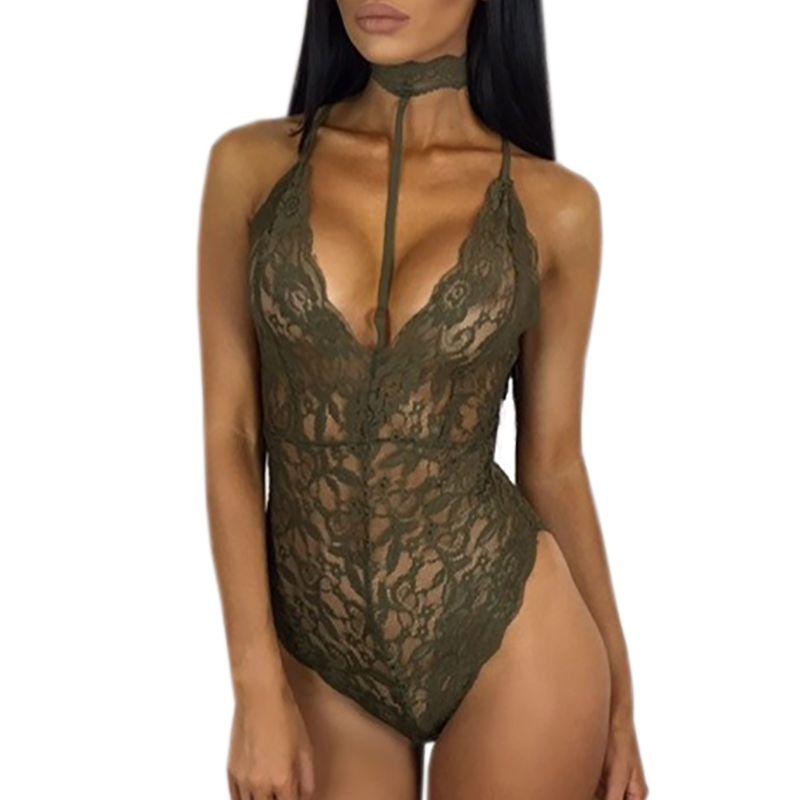 bd2b95dc755 Plus Size Women Deep V-Neck Jumpsuits Sexy Halter Lace Bodysuit Sleeveless  Solid Elegant Sexy Bodycon Jumpsuit Romper GV494  Affiliate