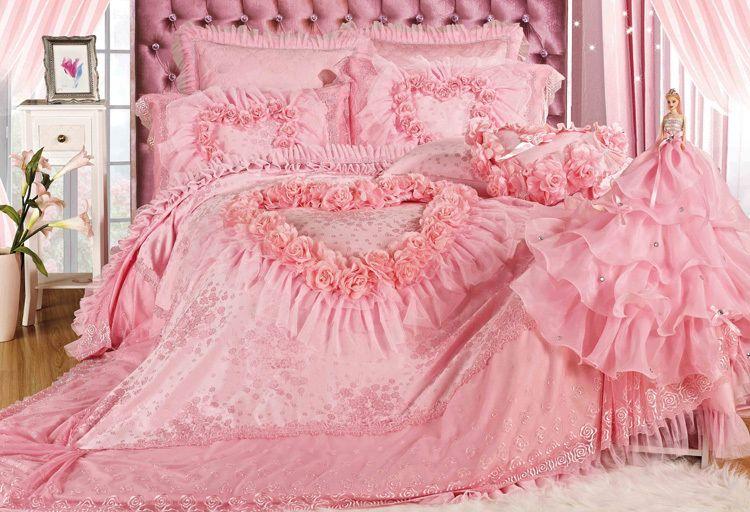 Luxury Romantic Pink Lace Rose Bedding Sets Modern Wedding Bedding Quality Comforter Set King Size 9 Pi Pink Bedroom Accessories Rose Bedding Comforter Sets