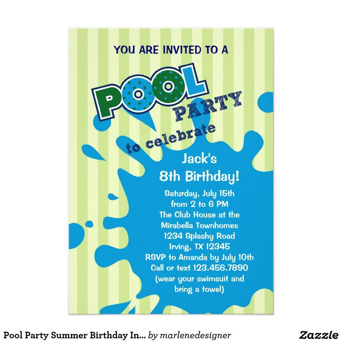 Pool Party Summer Birthday Invitation Zazzle Com Party Invite Template Pool Party Invitation Template Pool Party Invitations