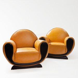 Pair of French Art Deco Fauteuils, Leather Cover, Paris, 30s