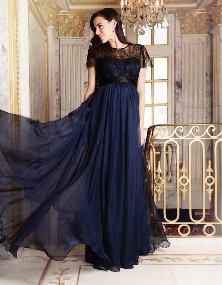 Navy Blue Silk and Lace Maternity Evening Gown | ELEGANT MATERNITY ...