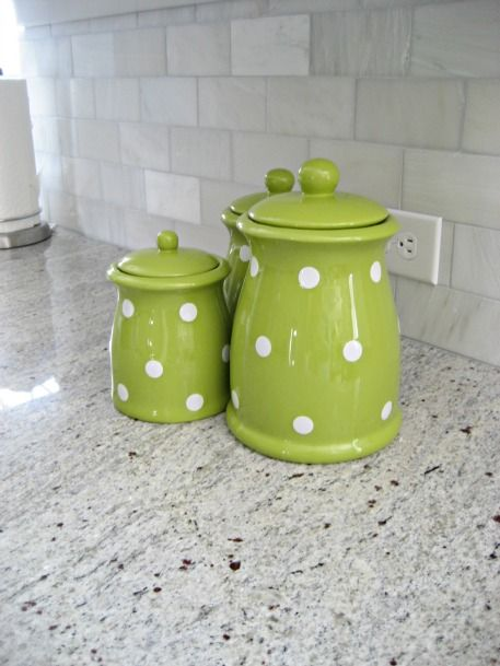 Cute Green Polka Dot Canister Set. Adds A Nice Pop Of Color To The Kitchen