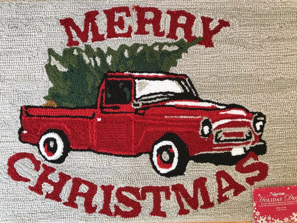 Red Truck Christmas Tree Holiday Accent Area Rug Merry Nwt