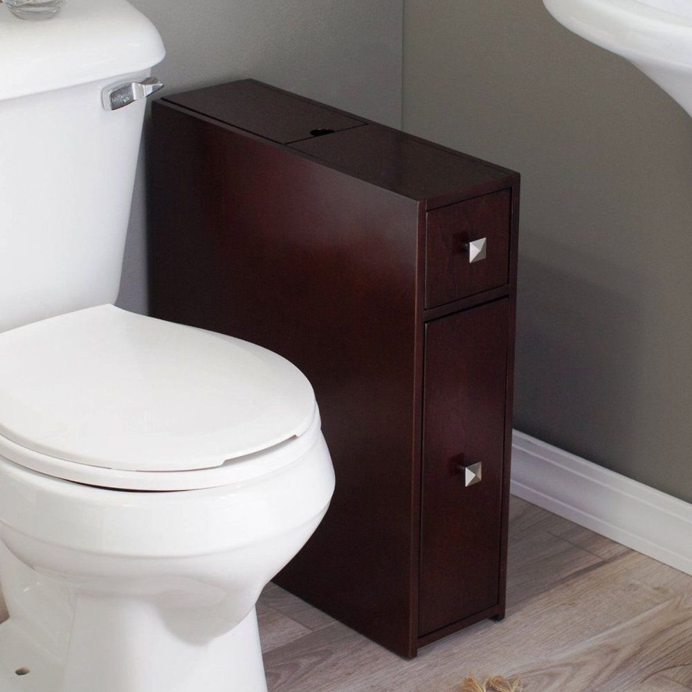 Bathroom Storage Cabinet Floor Standing Narrow Cupboard Pantry