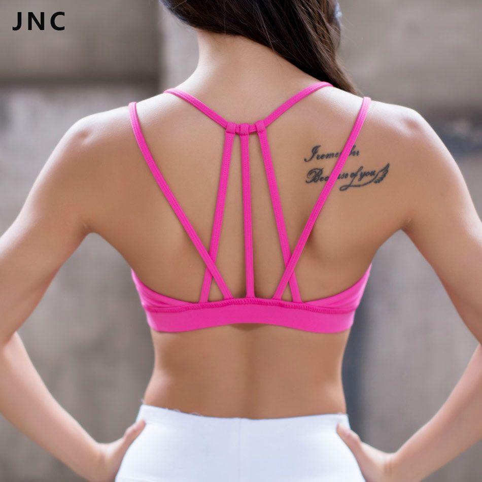 JNC Womens Sexy Strappy Yoga Sports Bra Black/Hot pink Crisscross ...