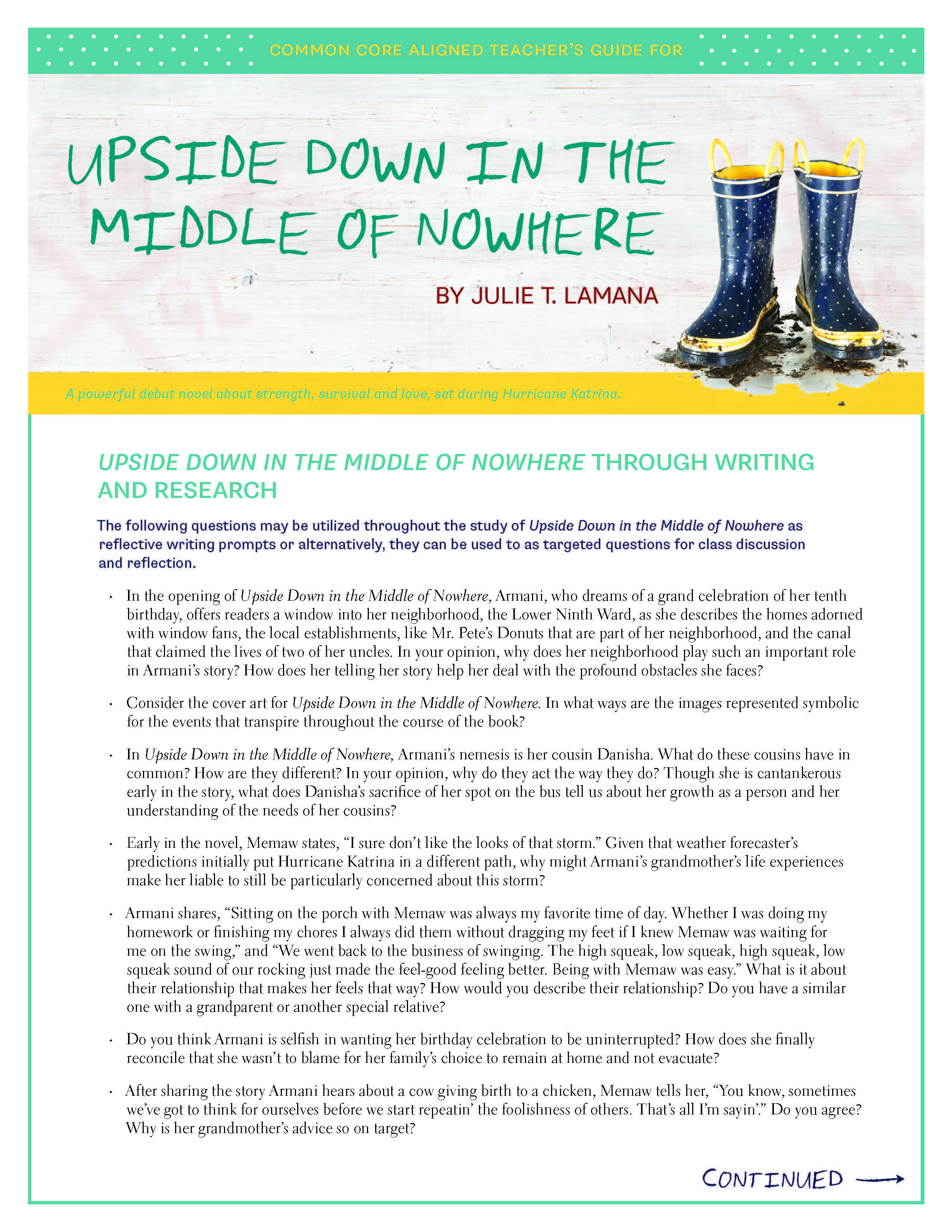 Common Core aligned teacher's guide for UPSIDE DOWN IN THE MIDDLE OF  NOWHERE by Julie T. Lamana