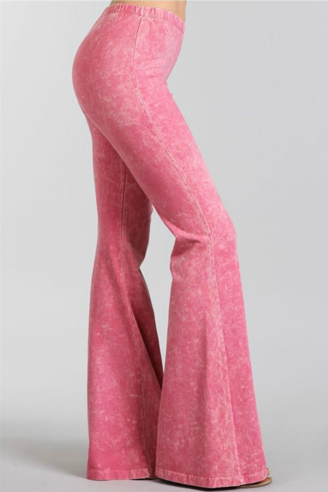 Bell Bottoms Yoga Pants Denim Colored Pink