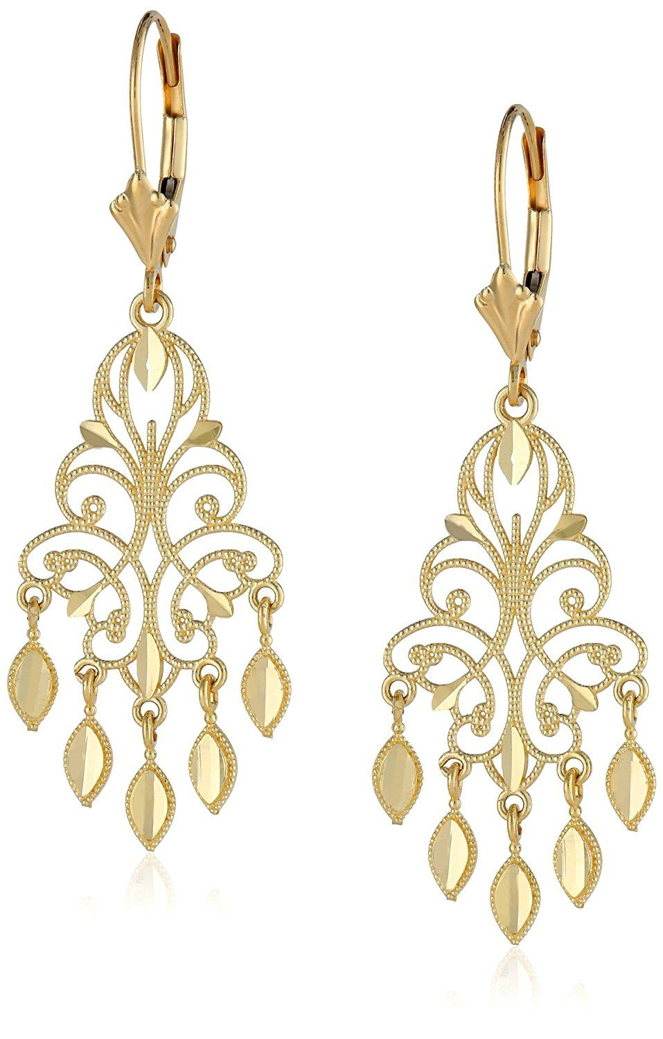 14k Yellow Gold Chandelier Earrings 1 5 Click Image To Review More