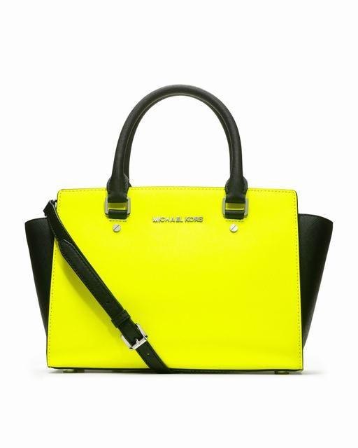 Michael-Kors-de-mode-Saffiano-Selma-sacoche-moyenne-jaune-neon-Sr ...