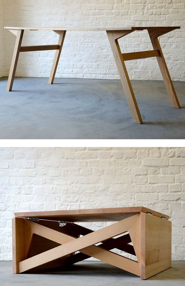 Wooden coffee table MK1 TRANSFORMING by Duffy London woodworking