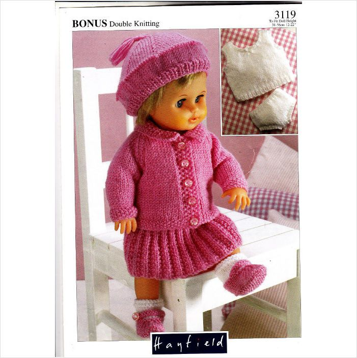 3119 Hayfield Knitting Pattern Doll Clothes DK 12\