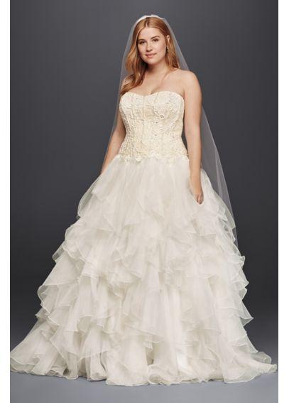 New Oleg Cassini Organza Ruffle Skirt Wedding Dress CWG